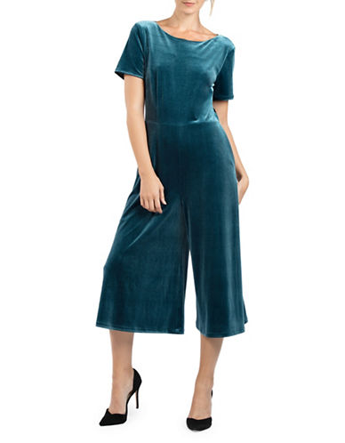 French Connection Aurore Velvet Jumpsuit-TEAL-0