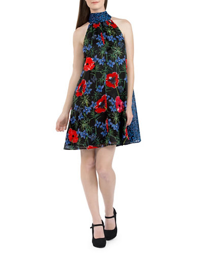 French Connection Esme Floral A-Line Dress-BLACK-Medium