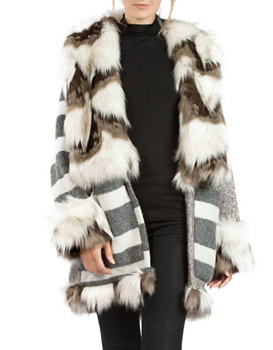French Connection Neomi Faux-Fur Trimmed Coat-GREY-Medium