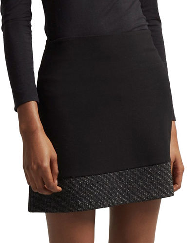 French Connection Louna Jersey Mini Skirt-BLACK-4