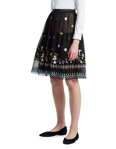 French Connection Bijou Embroidered Knee-Length Skirt-BLACK-0