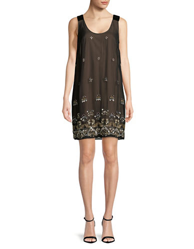 French Connection Beaded Shift Dress-BLACK-2