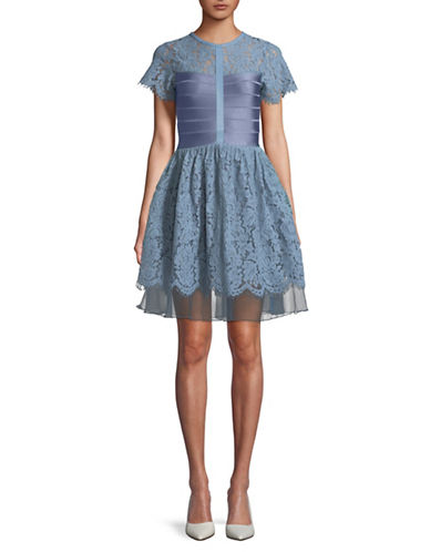 French Connection Lace Fit-and-Flare Dress-BLUE-6