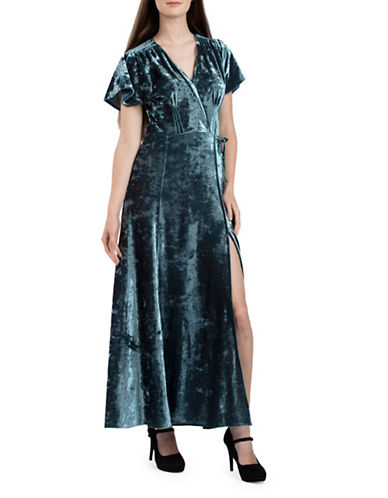 French Connection Aurore Velvet Maxi Dress-BLUE-2