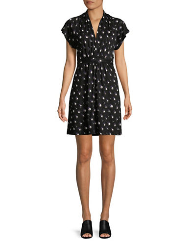 French Connection Sleeveless Ditzy Print Dress-BLACK-6