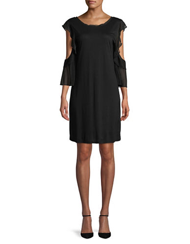 French Connection Ruffle-Sleeve Cold-Shoulder Shift Dress-BLACK-0