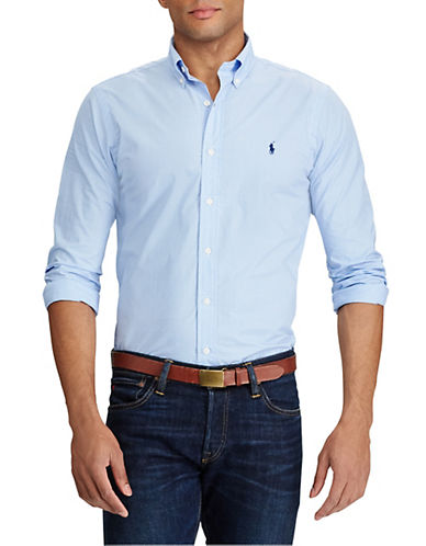 Polo Ralph Lauren Check Poplin Shirt-BLUE/WHITE-Large