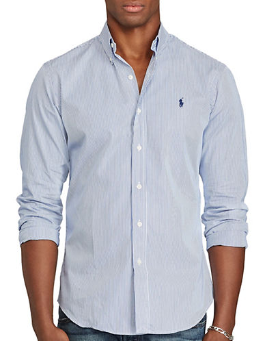 Polo Ralph Lauren Hairline-Striped Poplin Shirt-BLUE/WHITE-X-Large