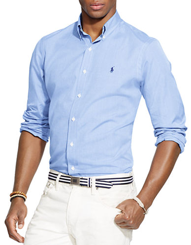 Polo Ralph Lauren End-on-End Poplin Shirt-BLUE-XX-Large
