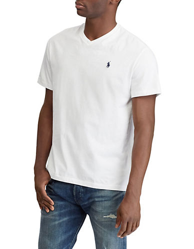 Polo Ralph Lauren Big and Tall Jersey V-Neck T-Shirt-WHITE-Large Tall