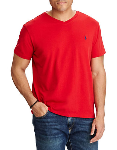Polo Ralph Lauren Big and Tall Jersey V-Neck T-Shirt-RED-2X Tall