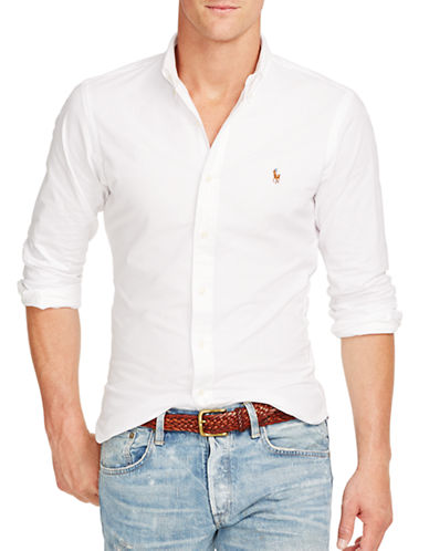 Polo Ralph Lauren Slim Fit Stretch Oxford Shirt-WHITE-Medium