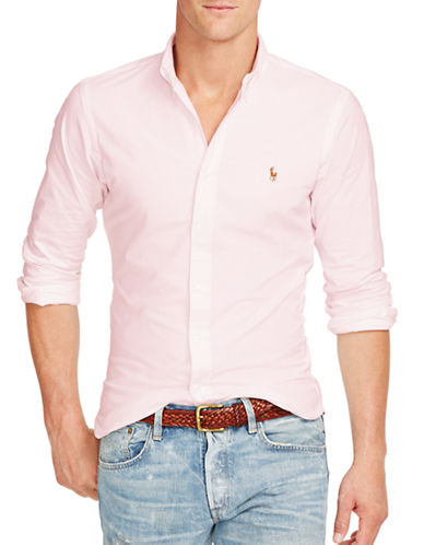Polo Ralph Lauren Slim Fit Stretch Oxford Shirt-PINK-Large