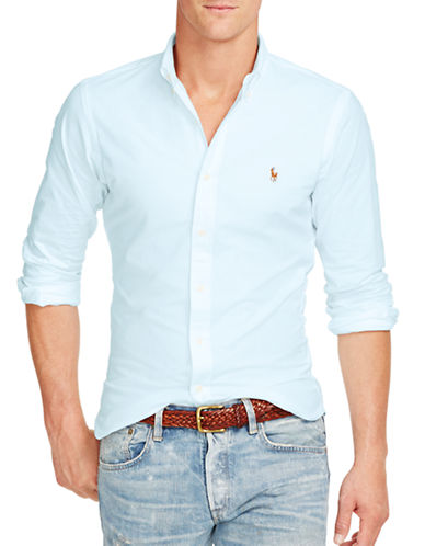Polo Ralph Lauren Slim Fit Stretch Oxford Shirt-AEGEAN BLUE-X-Large