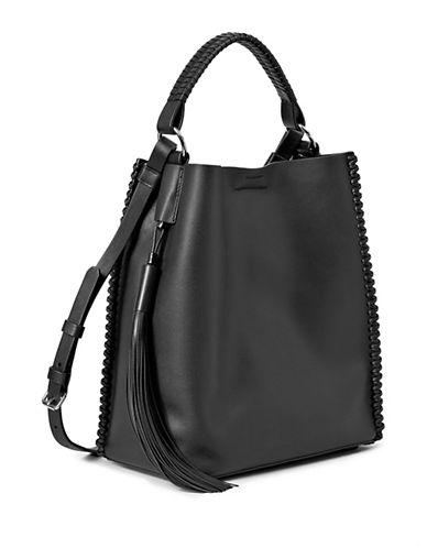 Allsaints Leather Mini Hobo Bag-BLACK-One Size