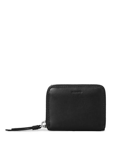 Allsaints Kanda Leather Zip-Around Mini Wallet-BLACK-One Size