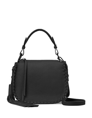 Allsaints Mori Whipstiched Leather Crossbody Bag-BLACK-One Size