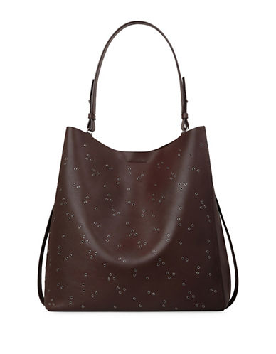 Allsaints Junai North South Leather Tote-PRUNE-One Size