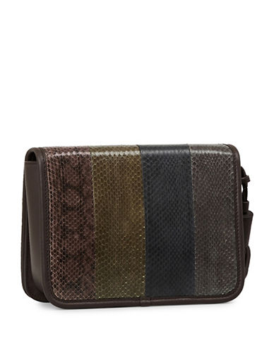 Allsaints Bansho Watersnake Leather Crossbody Bag-BROWN-One Size