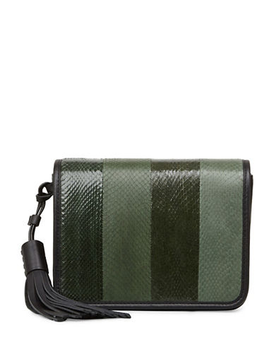 Allsaints Bansho Watersnake Leather Crossbody Bag-GREEN-One Size