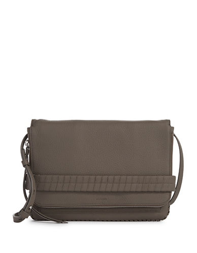 Allsaints Club Medium Leather Clutch-GREY-One Size