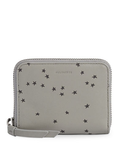 Allsaints Star Leather Mini Wallet-GREY-One Size