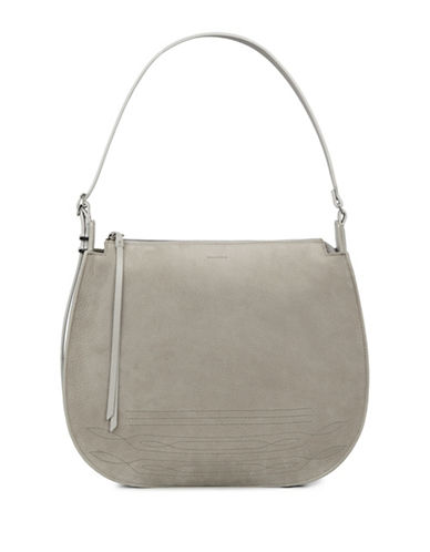 Allsaints Cooper Leather Hobo Bag-GREY-One Size
