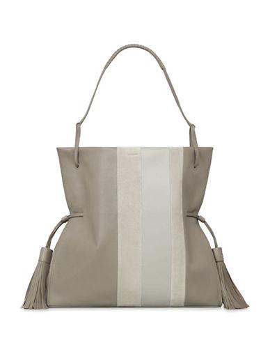 Allsaints Casey Tassel Leather Hobo Bag-GREY-One Size