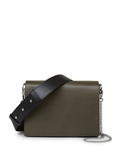 Allsaints Spacious Leather Box Bag-GREEN-One Size