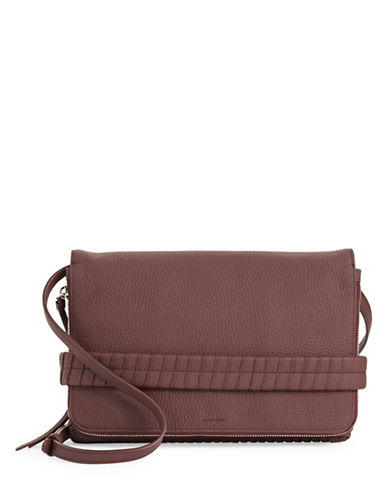 Allsaints Club Leather Clutch-RED-One Size