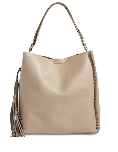 Allsaints Kepi Whipstitch Leather Tote-MUSHROOM-One Size