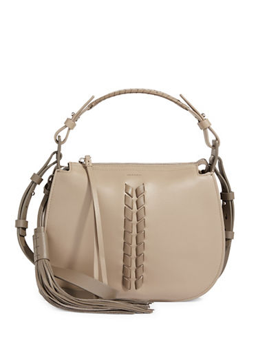 Allsaints Kepi Whipstitch Leather Crossbody Bag-MUSHROOM-One Size
