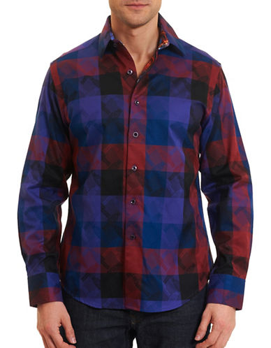 Robert Graham Nutcracker Check Cotton Shirt-BURGUNDY-Medium