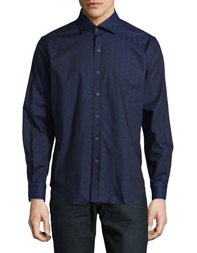 Robert Graham Skull Fit Sport Shirt-NAVY-XX-Large