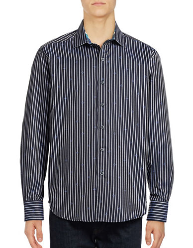 Robert Graham Alderaan Striped Sport Shirt-BLACK-Large