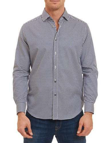 Robert Graham Woven Hounds tooth Sport Shirt-NAVY-XX-Large