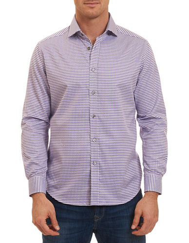 Robert Graham Woven Hounds tooth Sport Shirt-LAVENDER-XX-Large