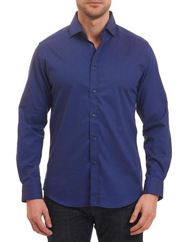 Robert Graham Mini Houndstooth Woven Shirt-NAVY-XX-Large