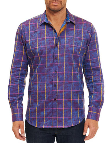 Robert Graham Paisley Plaid Sport Shirt-NAVY-Small