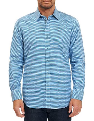 Robert Graham Geo Grid Sport Shirt-TEAL-XX-Large