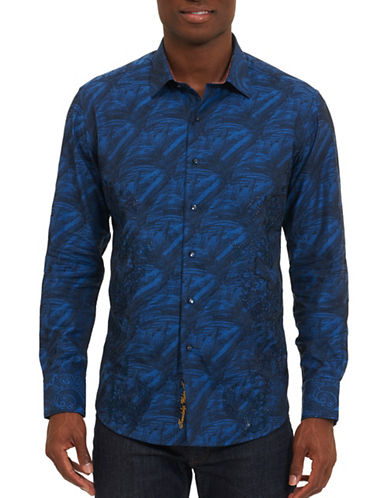 Robert Graham Brush-Print Cotton Sportshirt-BLUE-X-Large
