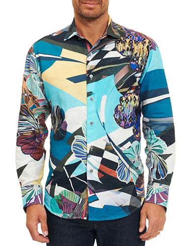 Robert Graham Woven Cotton Sport Shirt-MULTI-COLOURED-Large