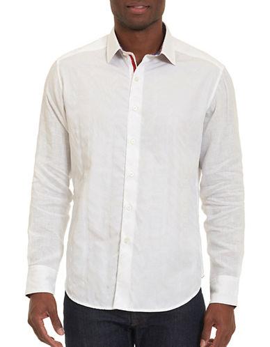 Robert Graham Long Sleeve Woven Sportshirt-WHITE-Small