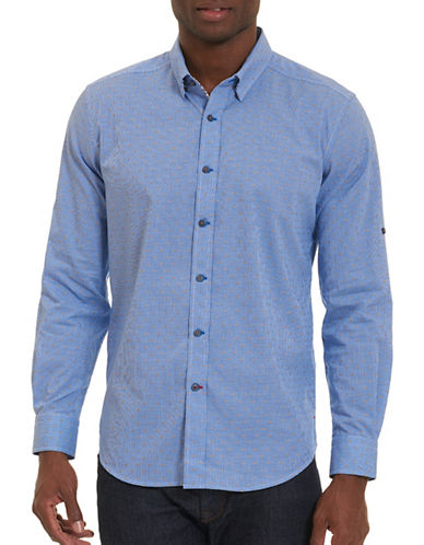Robert Graham Woven Long Sleeve Shirt-BLUE-Medium