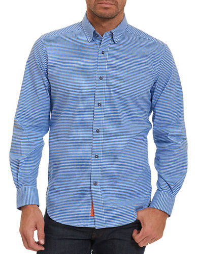 Robert Graham Check Shirt-BLUE-Large