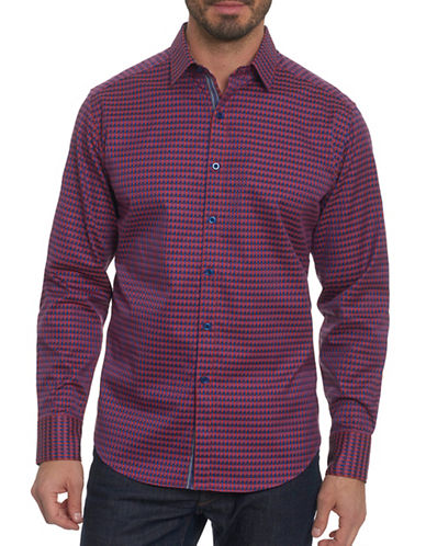 Robert Graham Geometric Print Sport Shirt-RED-Medium