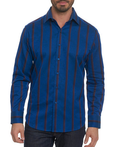 Robert Graham Two Tone Striped Sport Shirt-BLUE-Large