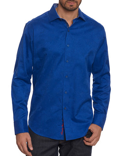 Robert Graham Egyptian Cotton Sport Shirt-ROYAL BLUE-Large