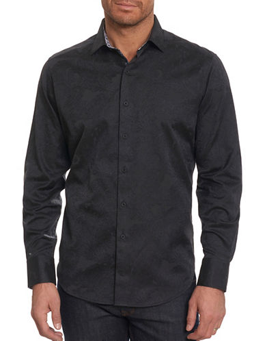 Robert Graham Egyptian Cotton Sport Shirt-BLACK-Medium