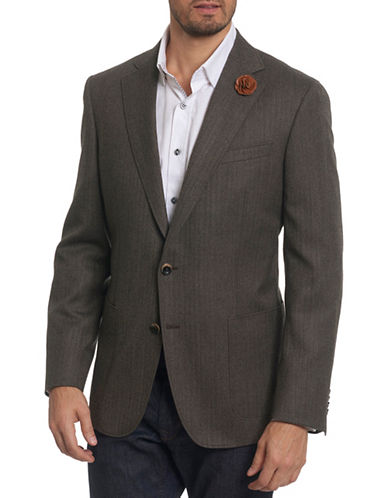 Robert Graham Notch Lapel Wool Sportcoat-BROWN-44